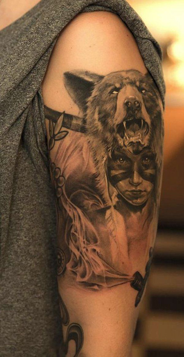 126d8f64f Native American Tattoo – realistic Indian girl wearing a wolf headdress.