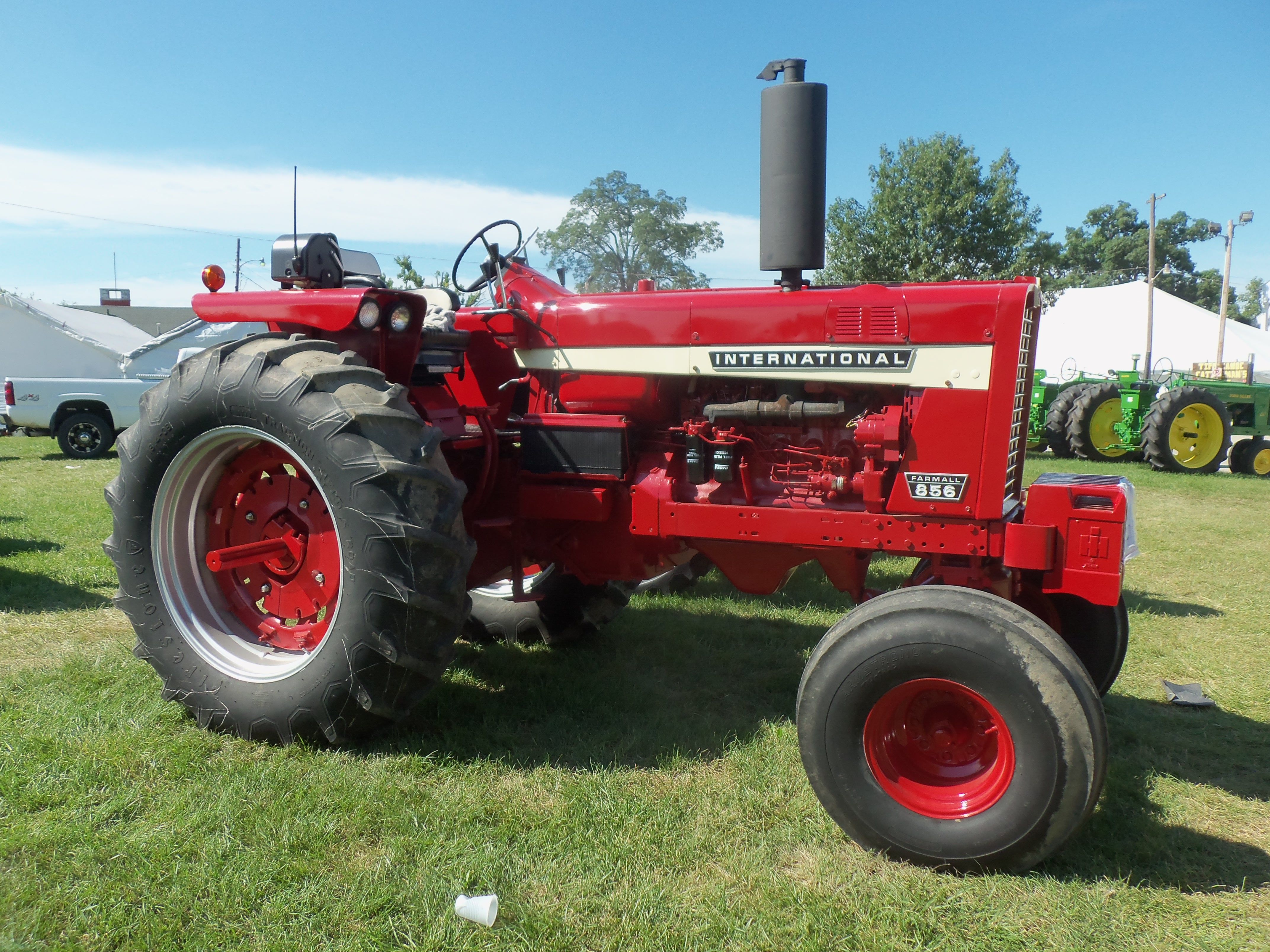 100 hp international 856 It competition was the John Deere