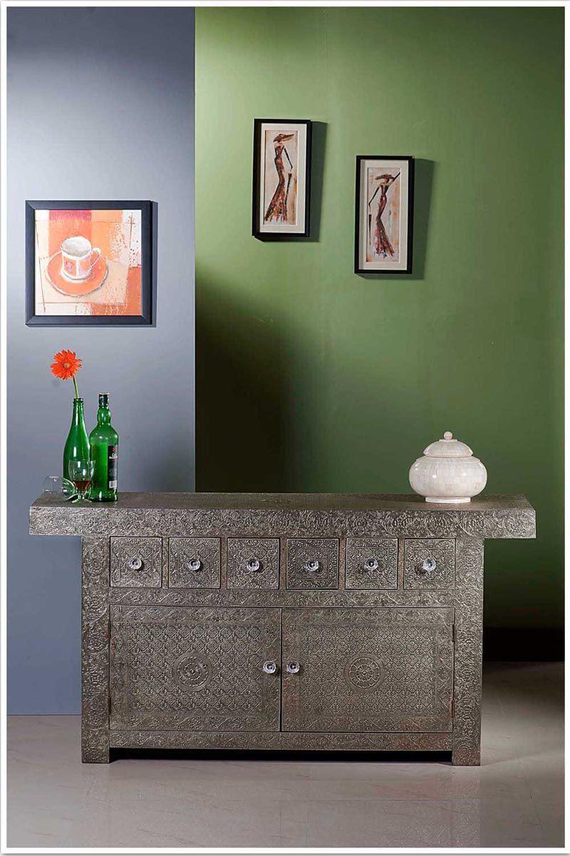 Embossed White Metal Sideboard | Bone Inlay Interior Furniture