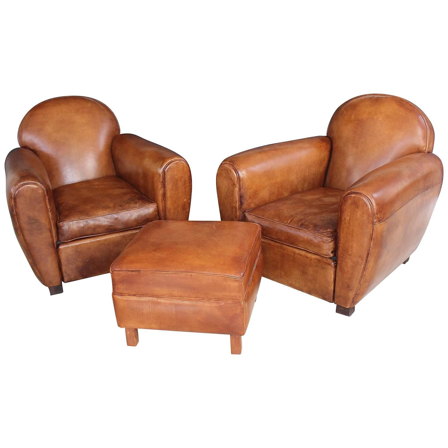 Pair of New French Leather Club Chairs with Ottoman