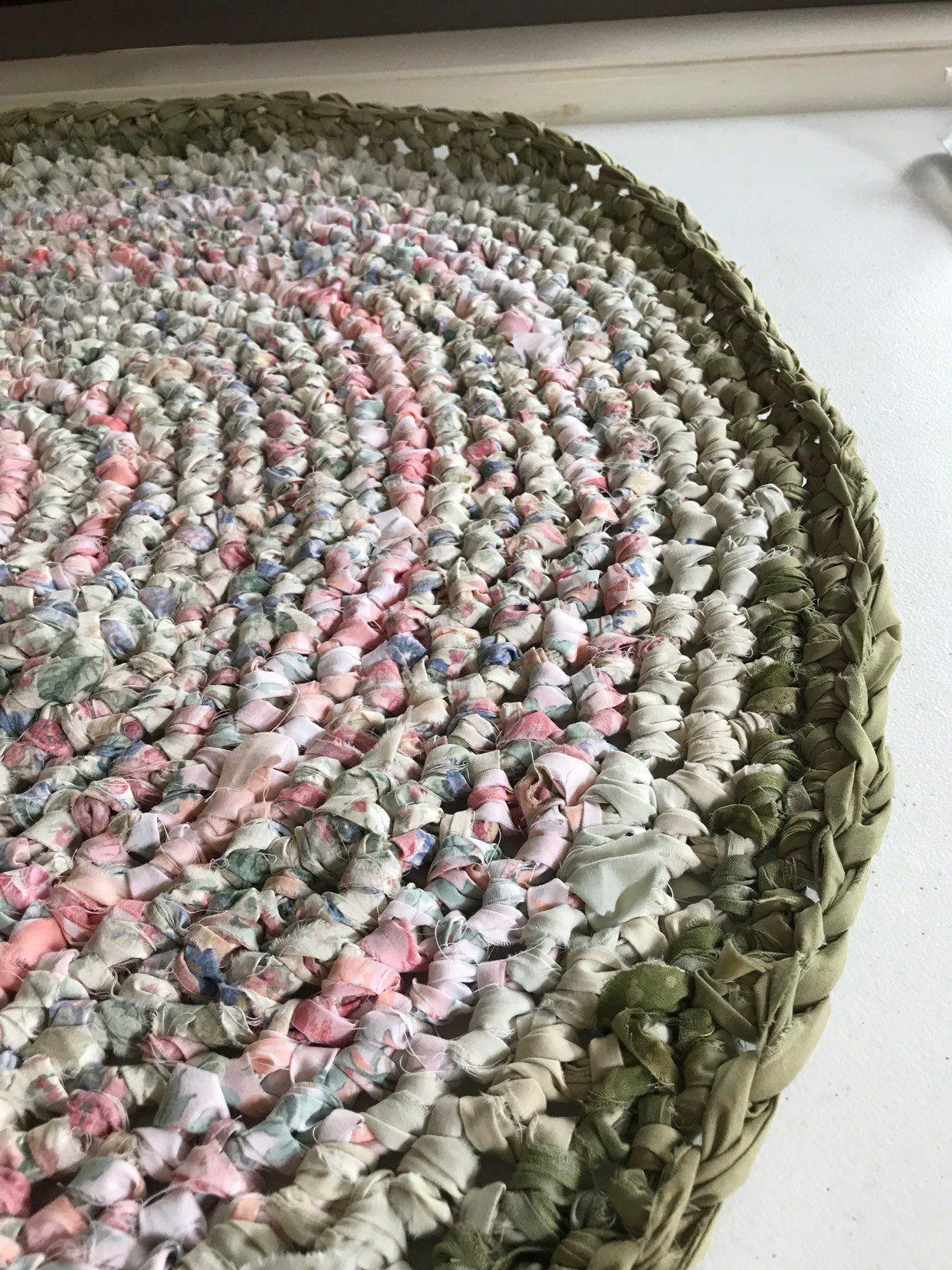 Mandala Cloth Rug Crochet Fabric Cream