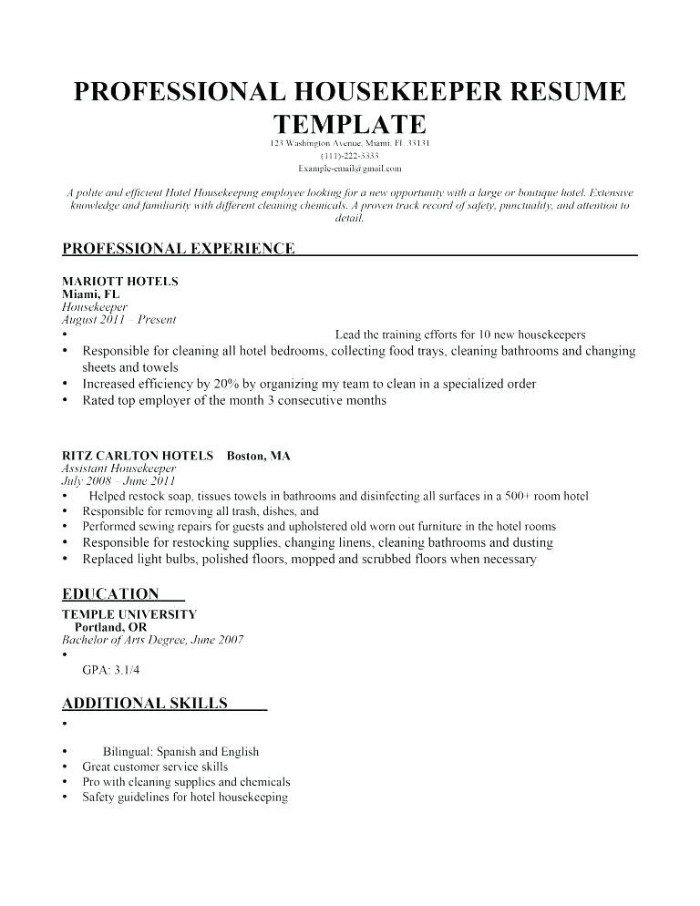 Resume Examples Housekeeping Executive Housekeeper Sample Monster Com