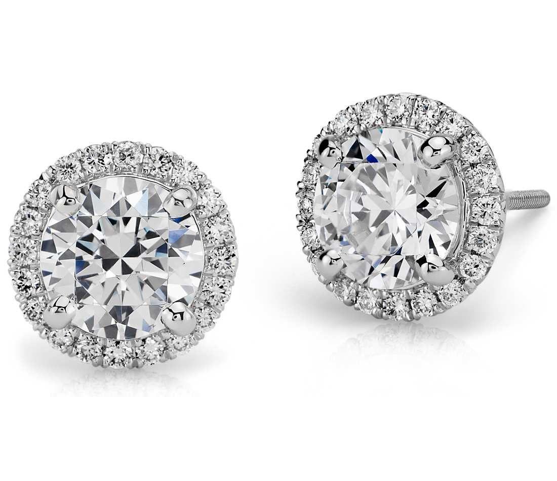 444e210a0 Every girl needs a pair of diamond studs! Halo diamond earring in platinum