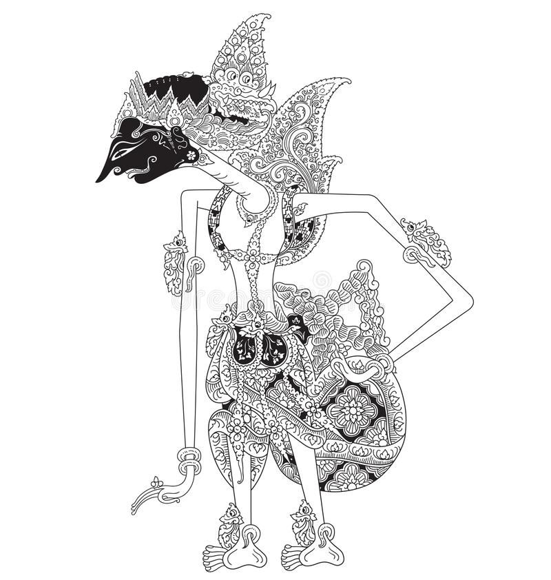 Mandrapati A Character Of Traditional Puppet Show Wayang Kulit From Java Indonesia Vector Illustration Shadow Puppets Illustration Vector Art