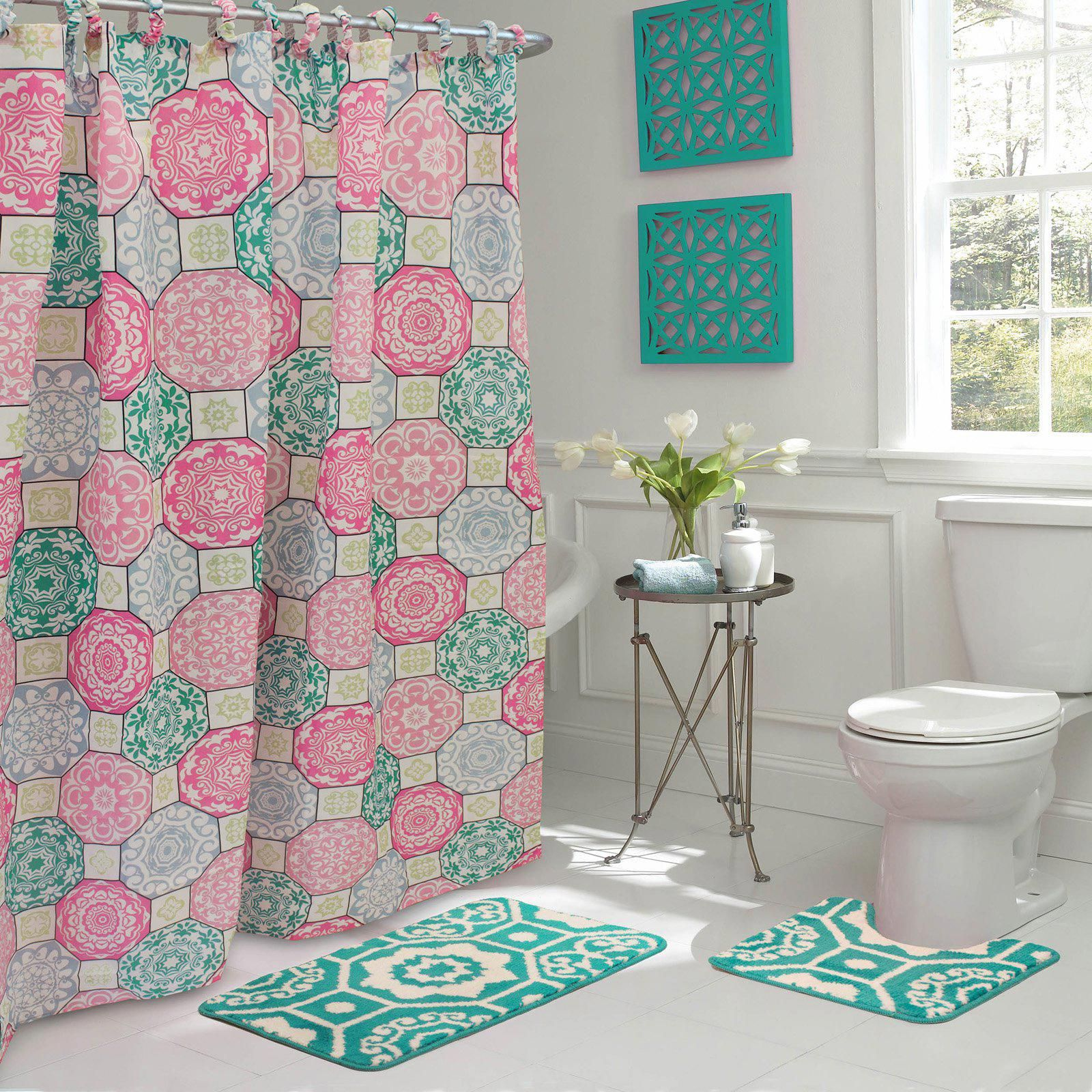 Pink Bathroom Rug Darkgreybathroom Shower Curtain Sets