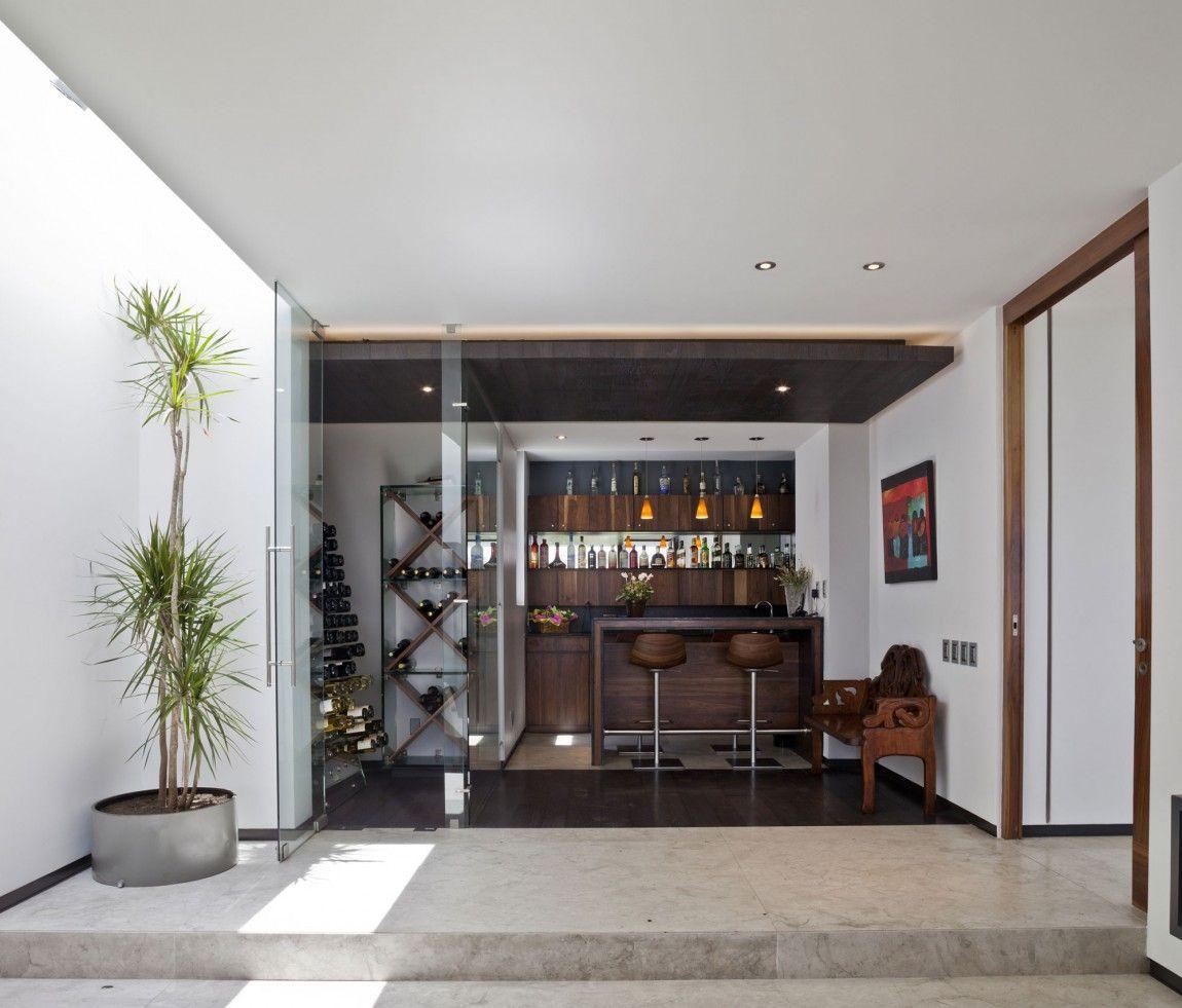 Architecture, Contemporary Interior Garden Stainless Steel Flower Pot  Marble Floors Wooden Door Chairs Bar Stool