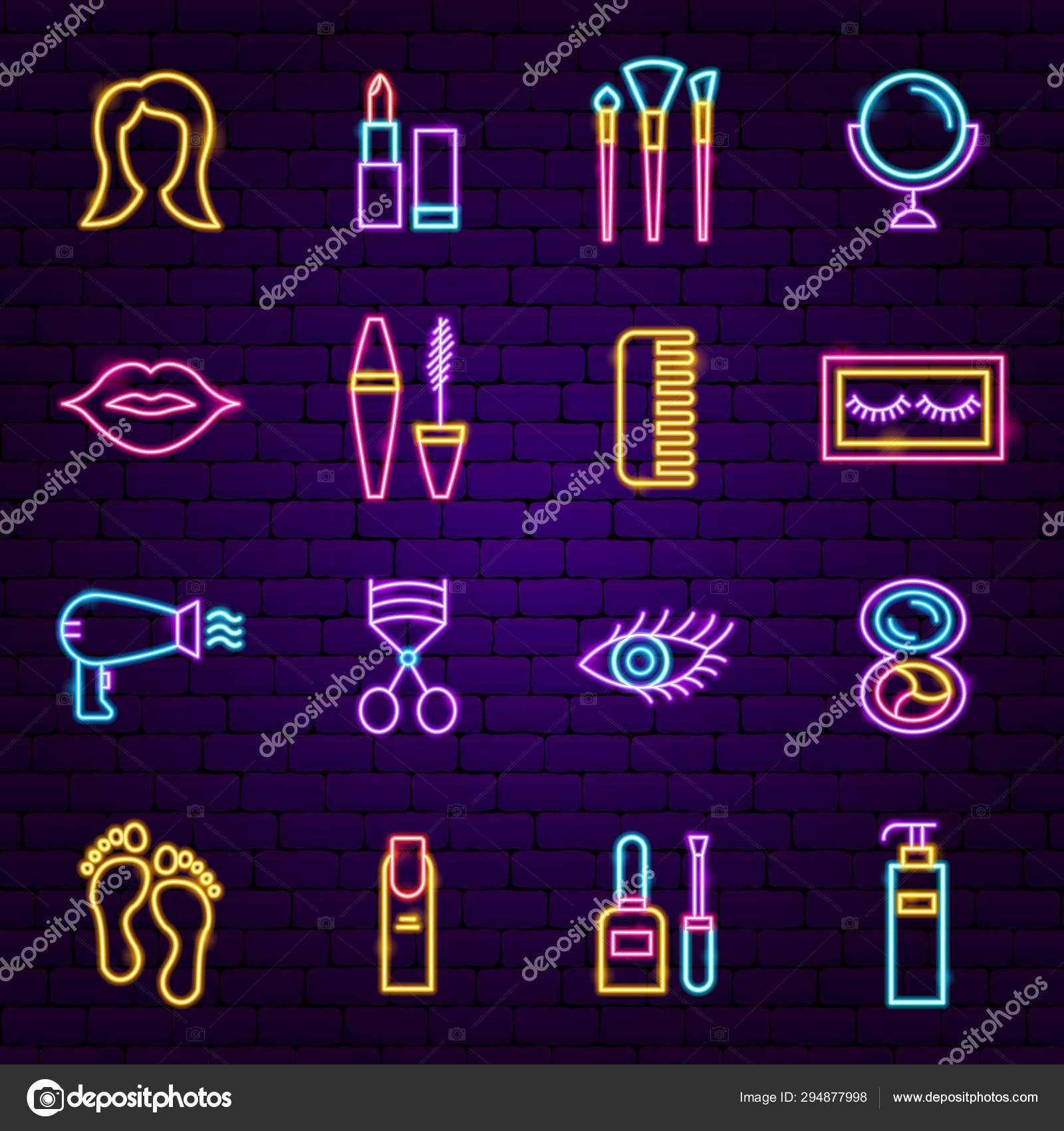 Download Cosmetics Neon Icons — Stock Illustration in