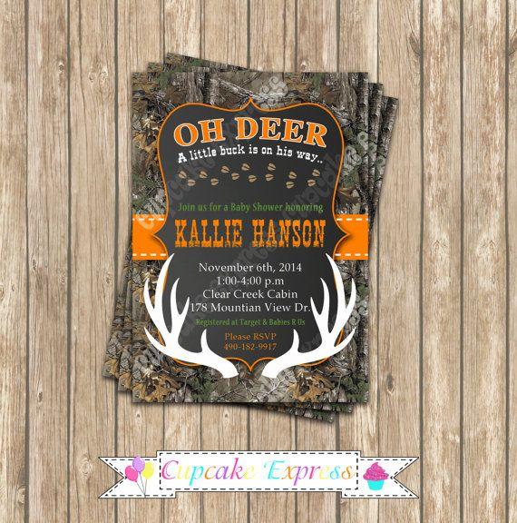 camo baby shower boy deer hunting printable invitation 5x7, Baby shower invitations