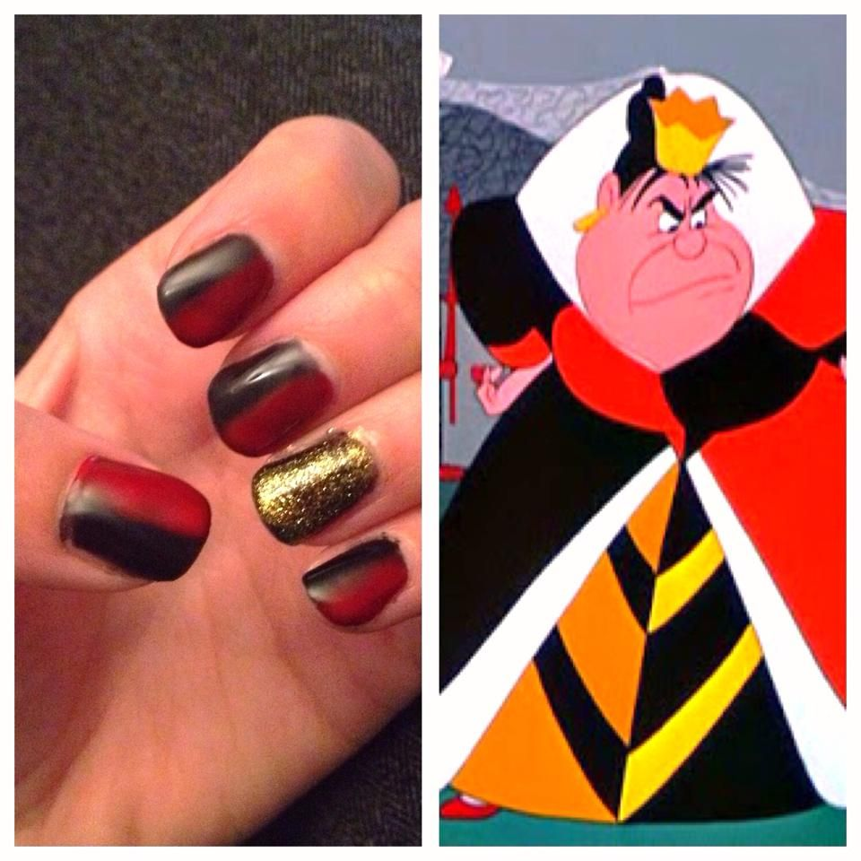 Queen of Hearts Nail Art , Disneys Alice in Wonderland
