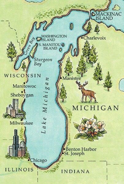 Michigan Michigan Lake Michigan Map Lake Michigan Michigan Usa - Lake-michigan-us-map