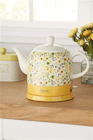 Next Ditsy Yellow Teapot Kettle Boils And Brews All In One Tea Pots Kettle Electric Tea Kettle