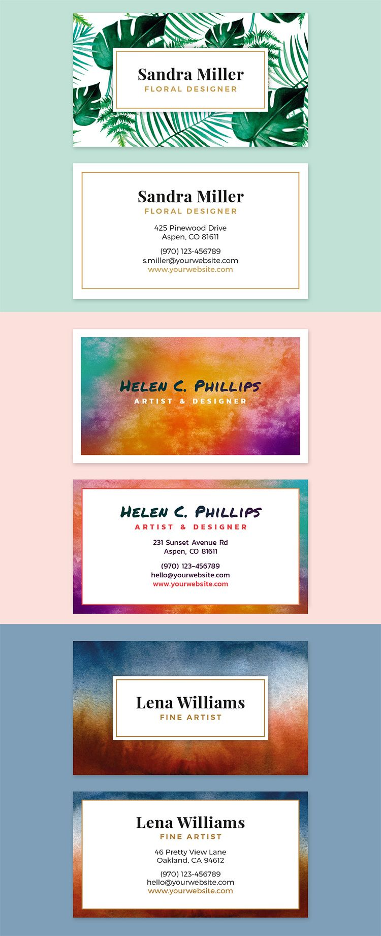 Beautiful watercolor business card template for adobe indesign beautiful watercolor business card template for adobe indesign fully customizable and print ready wajeb Choice Image