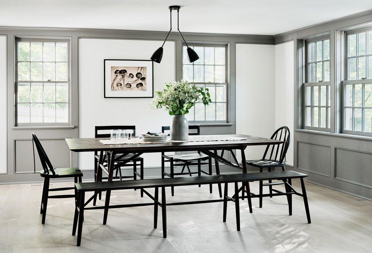 Modern Farmhouse Dining Room With Grey Trim