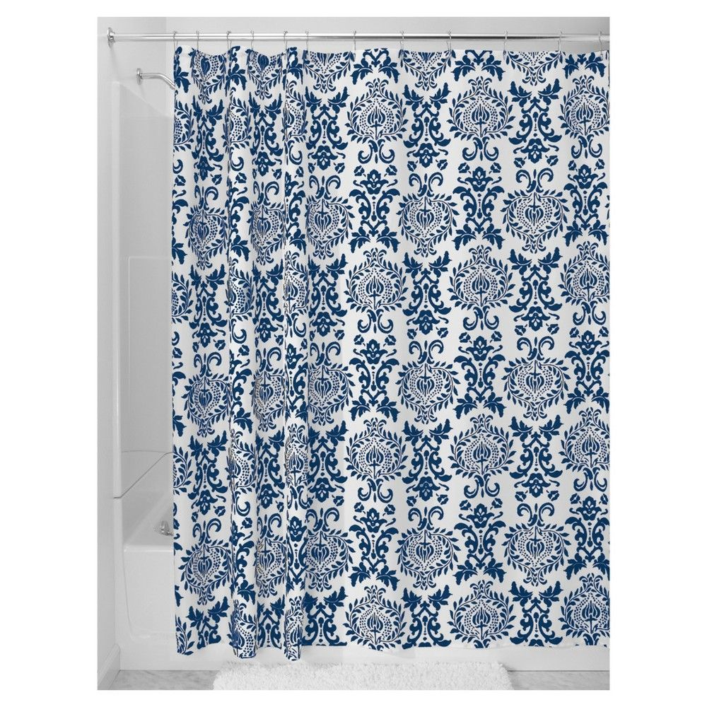 Damask Fabric Shower Curtain Stall Navy Blue 54 X 78
