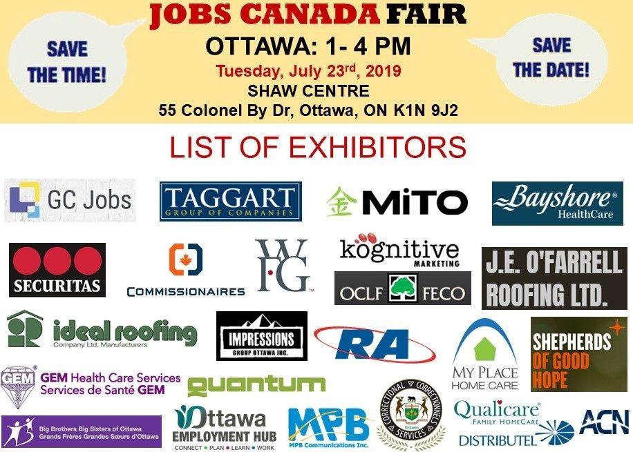 List of Hiring Companies for OttawaJobFair July 23rd