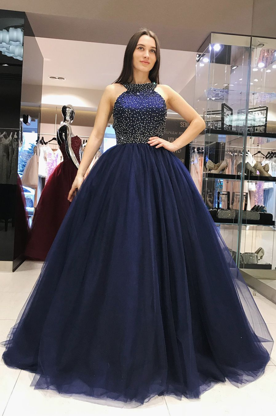Elegant scoop royal blue ball gown sweet dress in ball