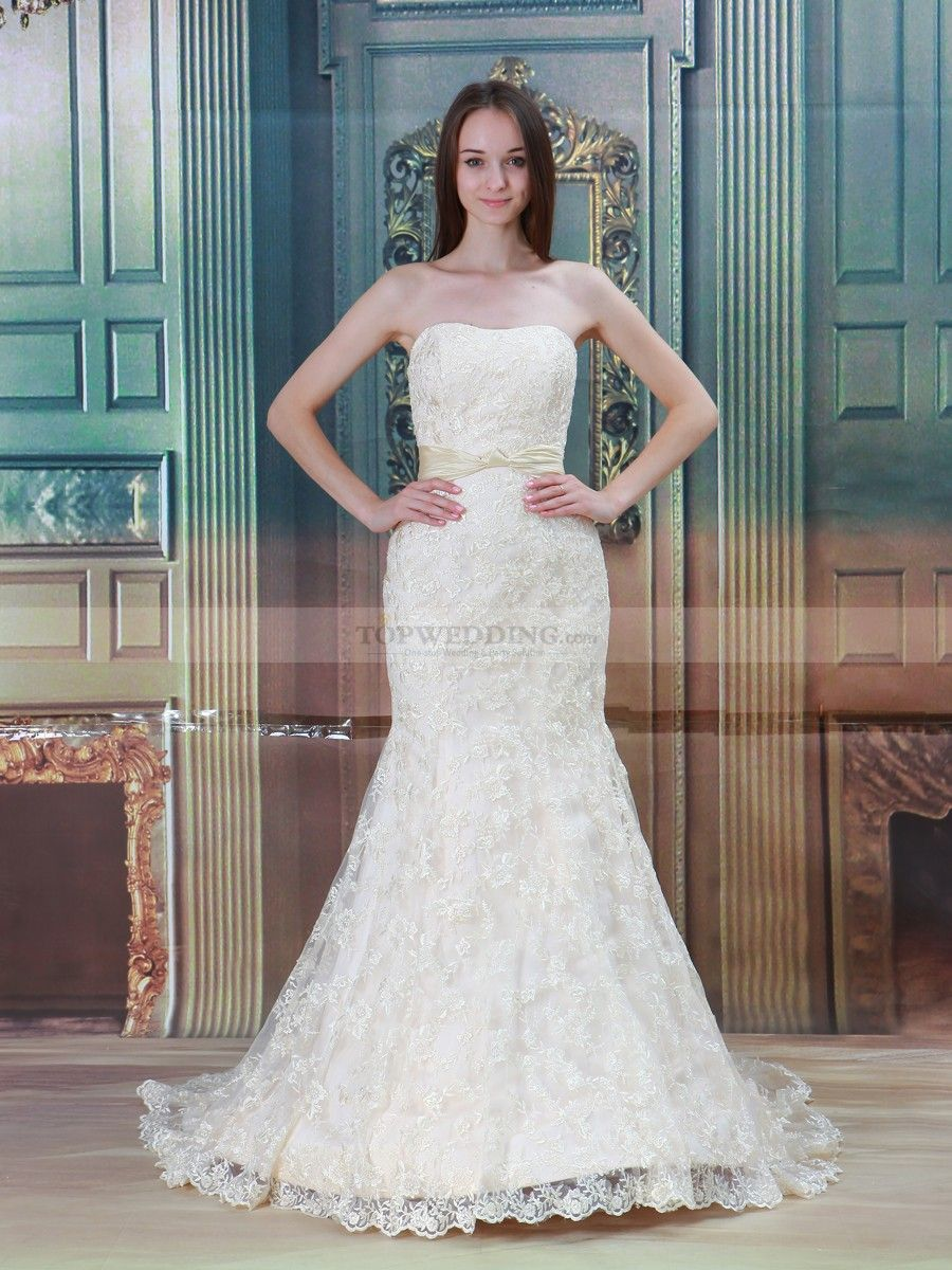 White mermaid wedding dress  Allover Lace Mermaid Wedding Dress with Sash and Buttons Back