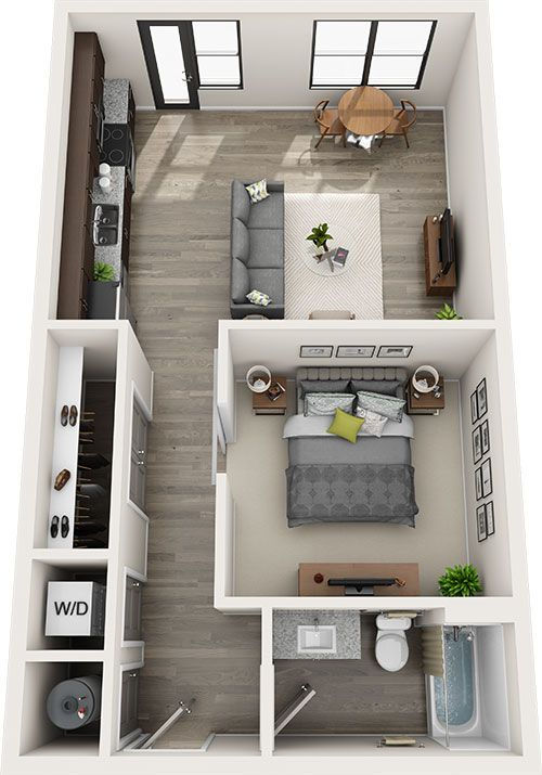 Perkins One Bedroom Apartment Layout Small House Plans Small Apartment Floor Plans