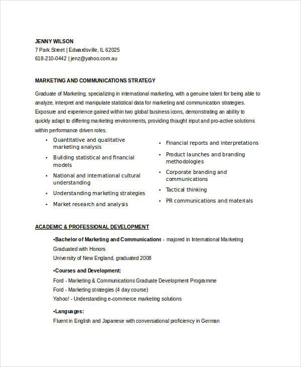 Entry Level Marketing Communications Resume  Marketing Resume