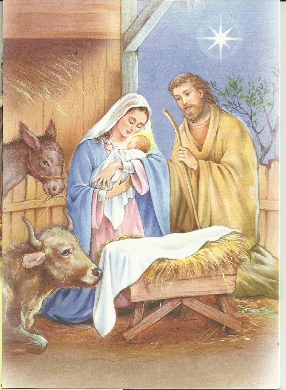 Esta Preciosa Imagen Del Nacimiento De Jesús También Es De Tarjecolsade Simón Elvin Christmas Pictures Vintage Christmas Cards Nativity