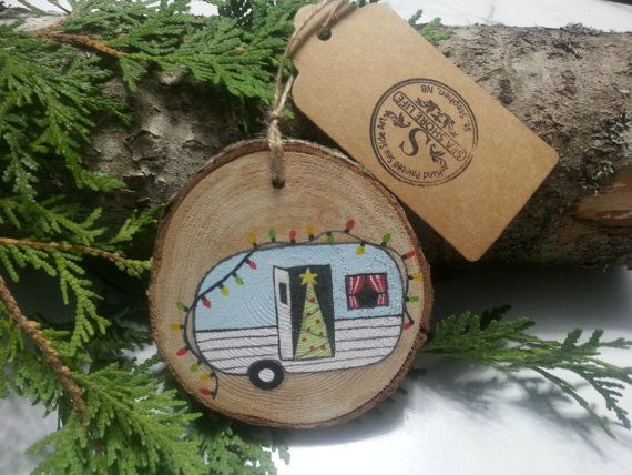 Retro Blue Camper Hand Painted Wood Slice Ornament By