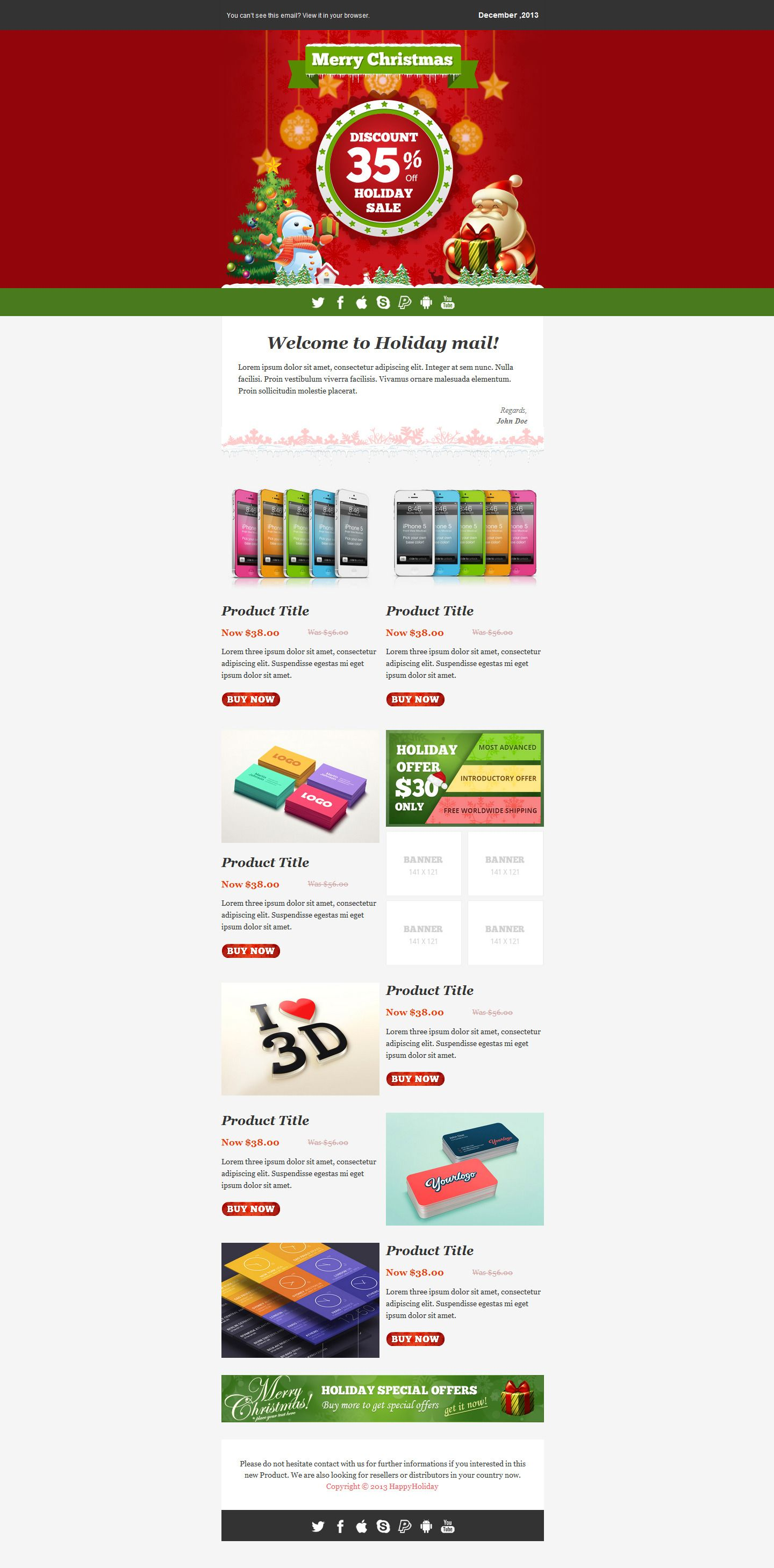 Happy Holiday – Responsive Email Templates | Pinterest