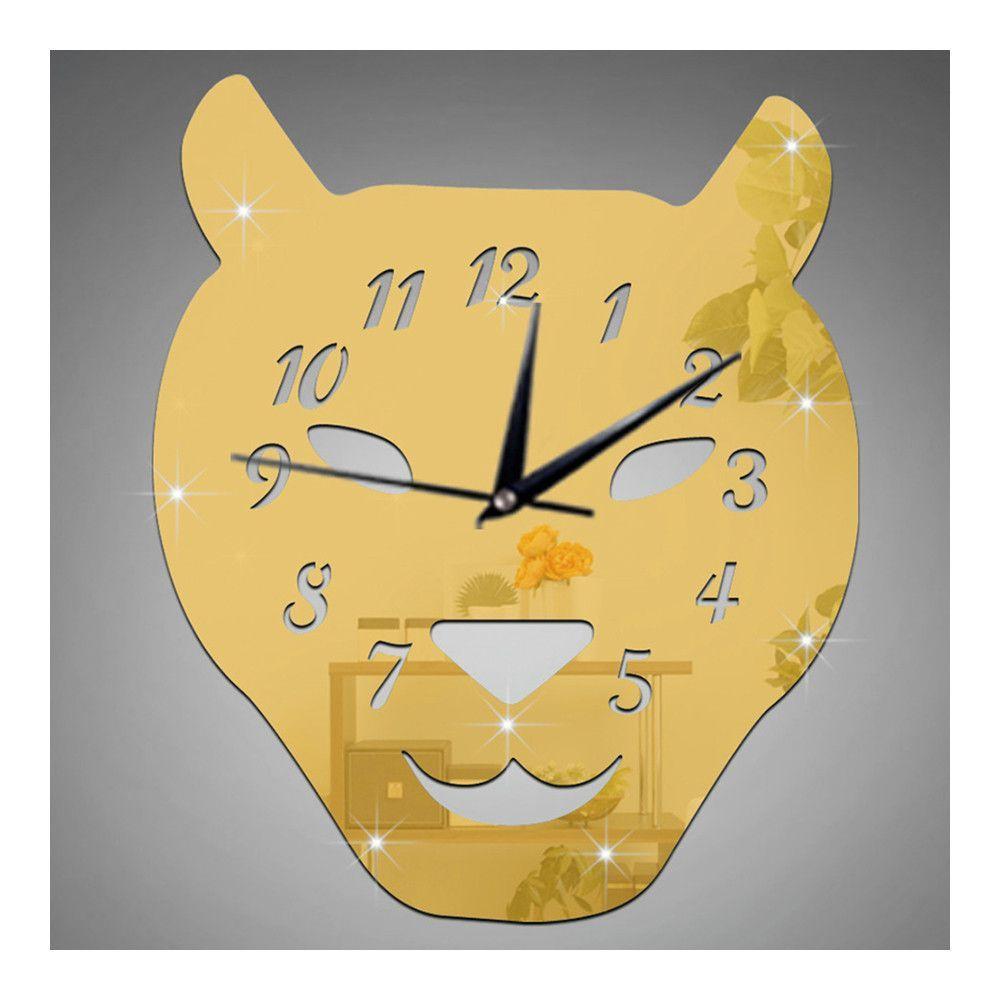 Leopard Cat Silent Quartz Living Room Decoration Mirror Wall Clock ...