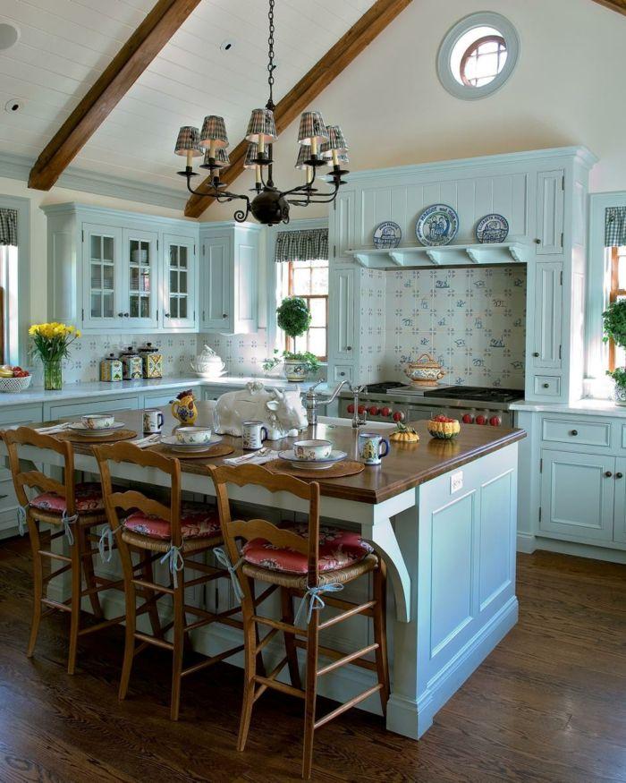 Ideen für die Kücheneinrichtung von dem Country Style | Küche türkis ...