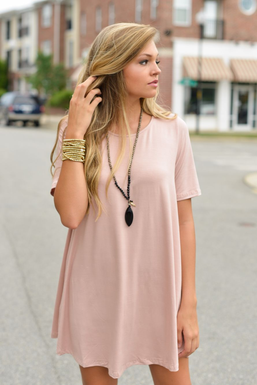 Pink t shirt dress swoonboutique style for spring and summer
