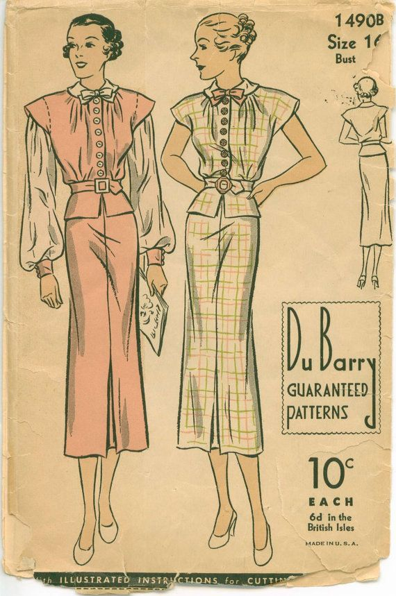 1930\'s Sewing Pattern - Fitted Peplum Dress with Bishop Sleeves ...