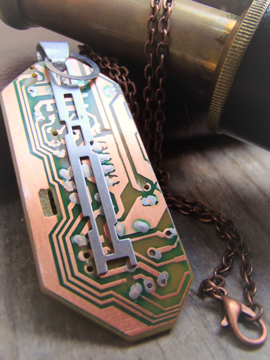 Recycled Circuit Board Pendant Copper Circuitry Accent Dangle Of Parts Constructed From Salvaged Computer And Aluminum Accents Free Ship In Us By Muchadoaboutjunkin On