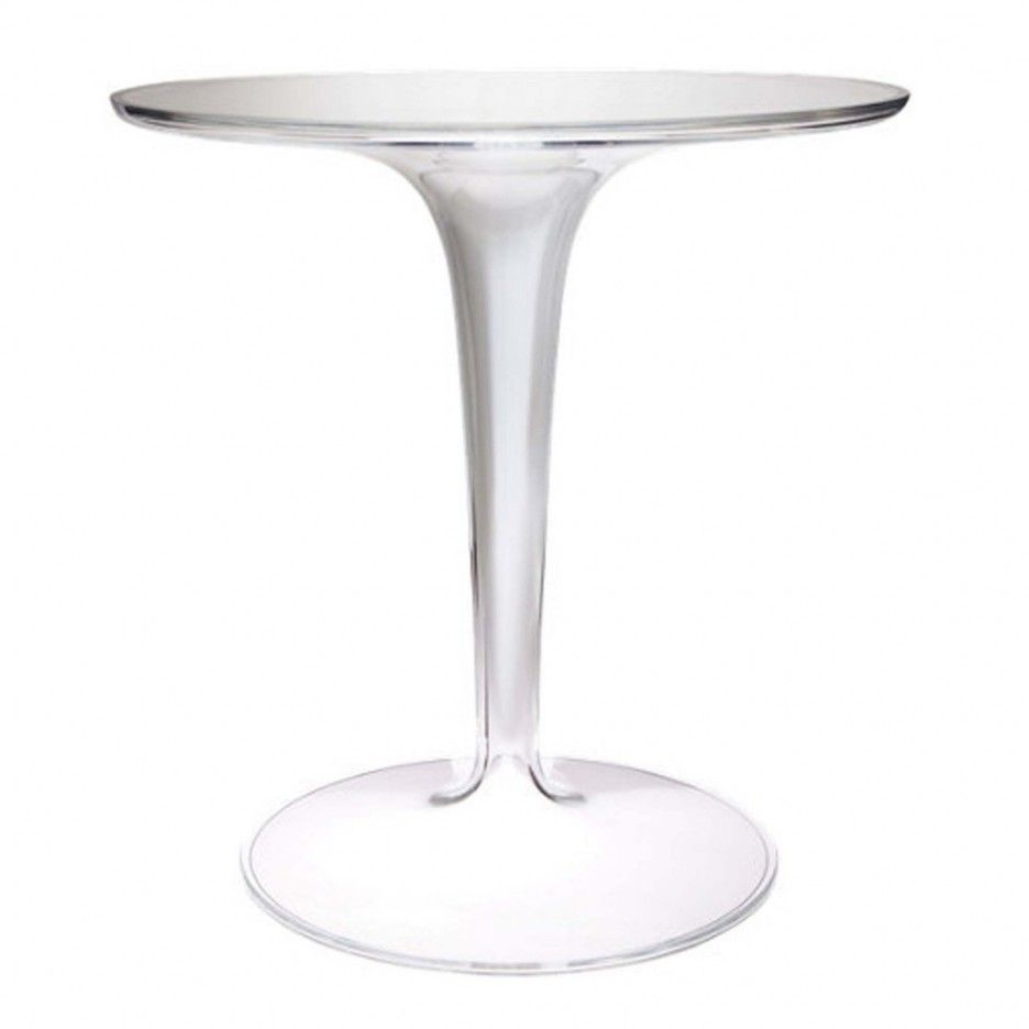 Cool Lucite Table Design Ideas Come With Clear Round Bar And Base Plus Acrylic Together Recycled Material