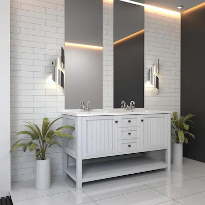 Boutique Ceramic Boutique Crafted White 3x12 3 In X 12 In Glazed Ceramic Subway Wall Tile Lowes Com Wall Tiles White Ceramic Tiles Large Bathrooms