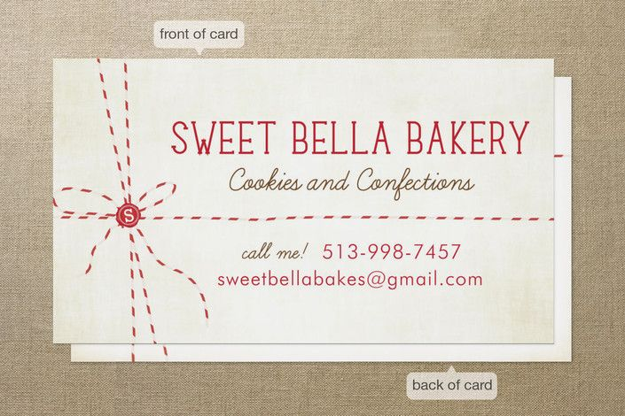 Great Idea For A Bakery Business Card With Images Bakery