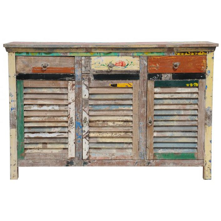 Pin By Timber Revival On Our New Recycled And Reclaimed: Distressed Wood Multi Colored Shutter Cabinet