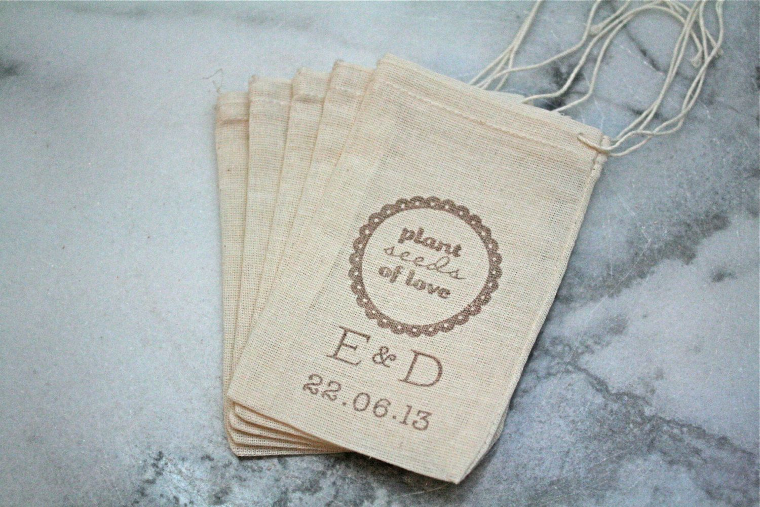 Personalized wedding favor bags, flower seed favors. 50 muslin bags ...