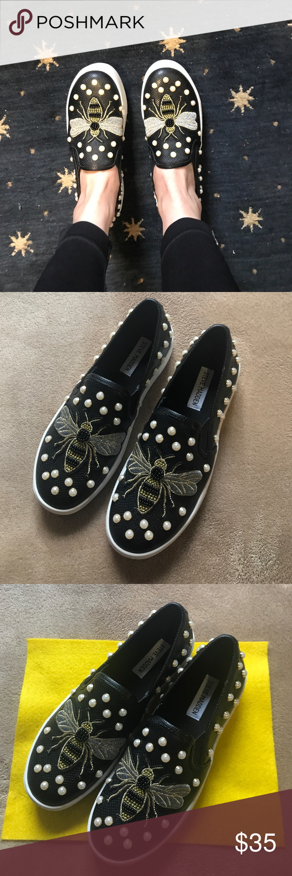 Steve Madden Polly Slip On Sneakers Steven Madden flat shoes very  comfortable and fashionable. Steve