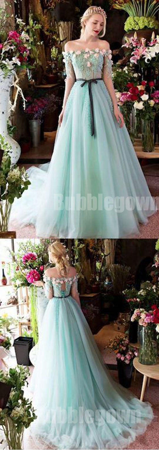 Off the shoulder charming half sleeves long evening prom dresses