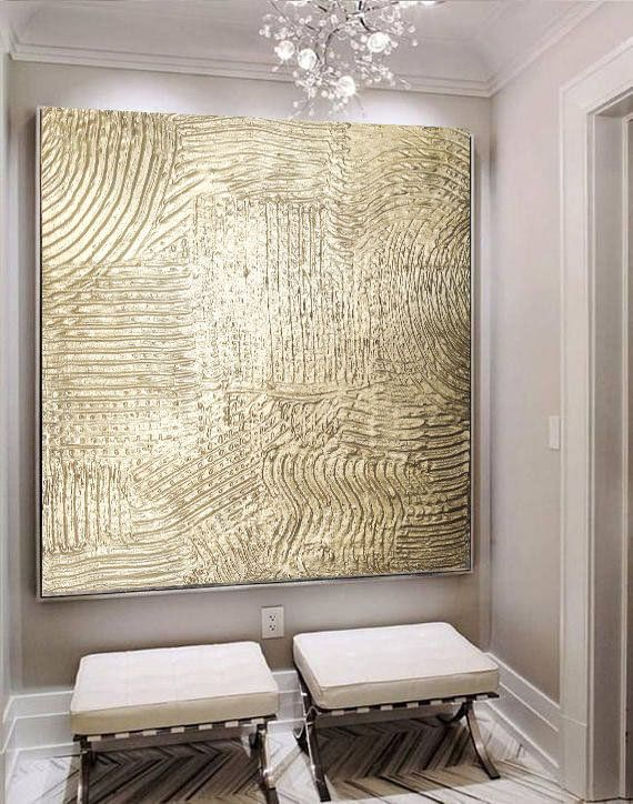 Large Painting Gold Texture Oversize Abstract Wall Art Hallway Etsy Etsy Wall Art Gold Wall Art Office Wall Decor