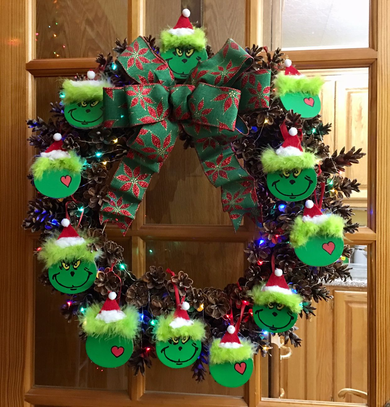 Grinch Inspired Pinecone Christmas Wreath Grinch Christmas Decorations Christmas Wreaths Christmas Craft Projects