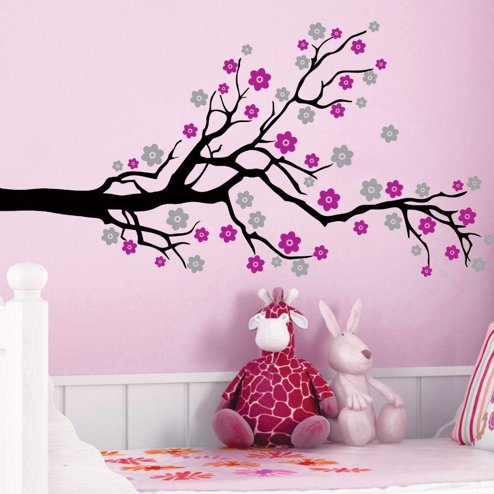 3 Color Custom Big Size Cherry Blossom Tree Flowers Vinyl Wall Decals Art Decor Mural Kids Room Kids Room Wall Stickers Nature Wall Decor Pink Painted Walls