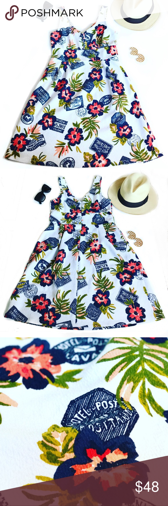 Maison Jules vacation dress with hidden pockets Maison Jules of Anthropologie, vacation summer dress, cotton mix, with hidden pockets. It will fit a perfect size 6! Super confortable, soft and fresh! The dress looks like new! No stains, no broken, no flaws! Anthropologie Dresses Midi