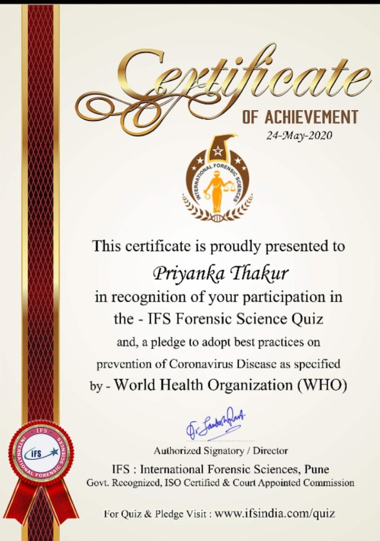 Priyanka Thakur B Pharm 1st Year Student Of Kanpur Institute Of Technology And Pharmacy Kitp Was Awarded The Science Quiz Teaching Biology Forensic Science