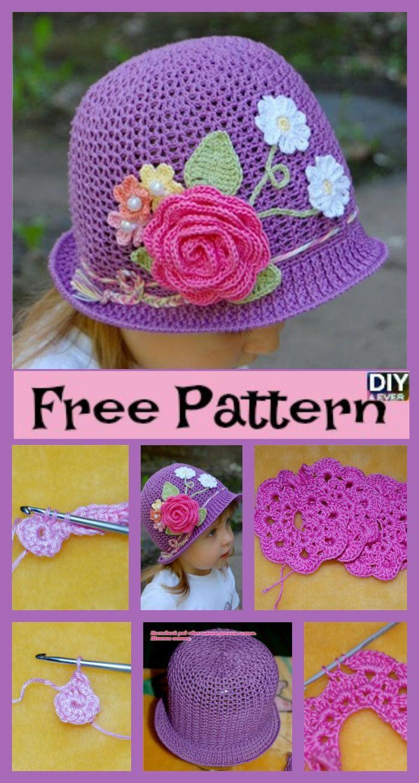 Crochet Flower Sun Hats - Free Pattern | Stricken und häkeln, Hüte ...
