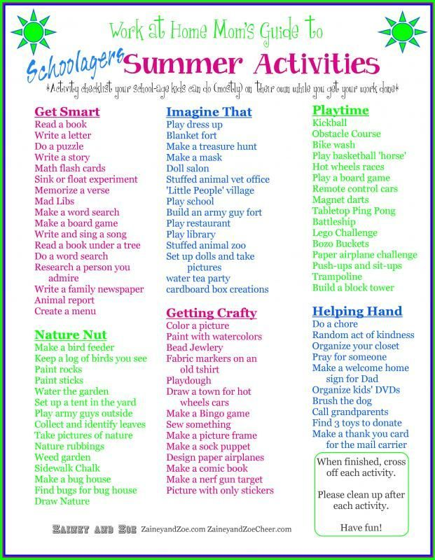 Work At Home Mom Kids Summer Checklist Keep Busy While Works More Resources And Printable Copy WomensBusinessWor