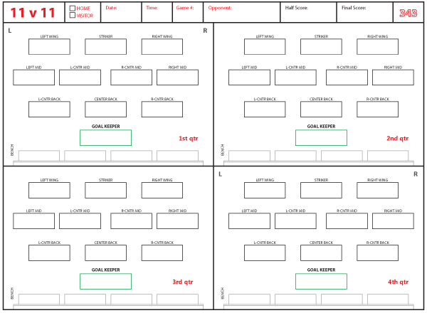 Soccer Formations And Systems As Lineup Sheet Templates Brant Wojack Football Roster Soccer Football Formations