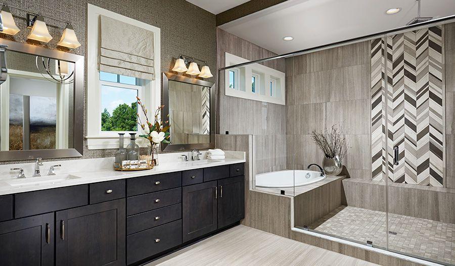 Note the elegant, eye-catching tile in this Aldie, VA, master bath ...