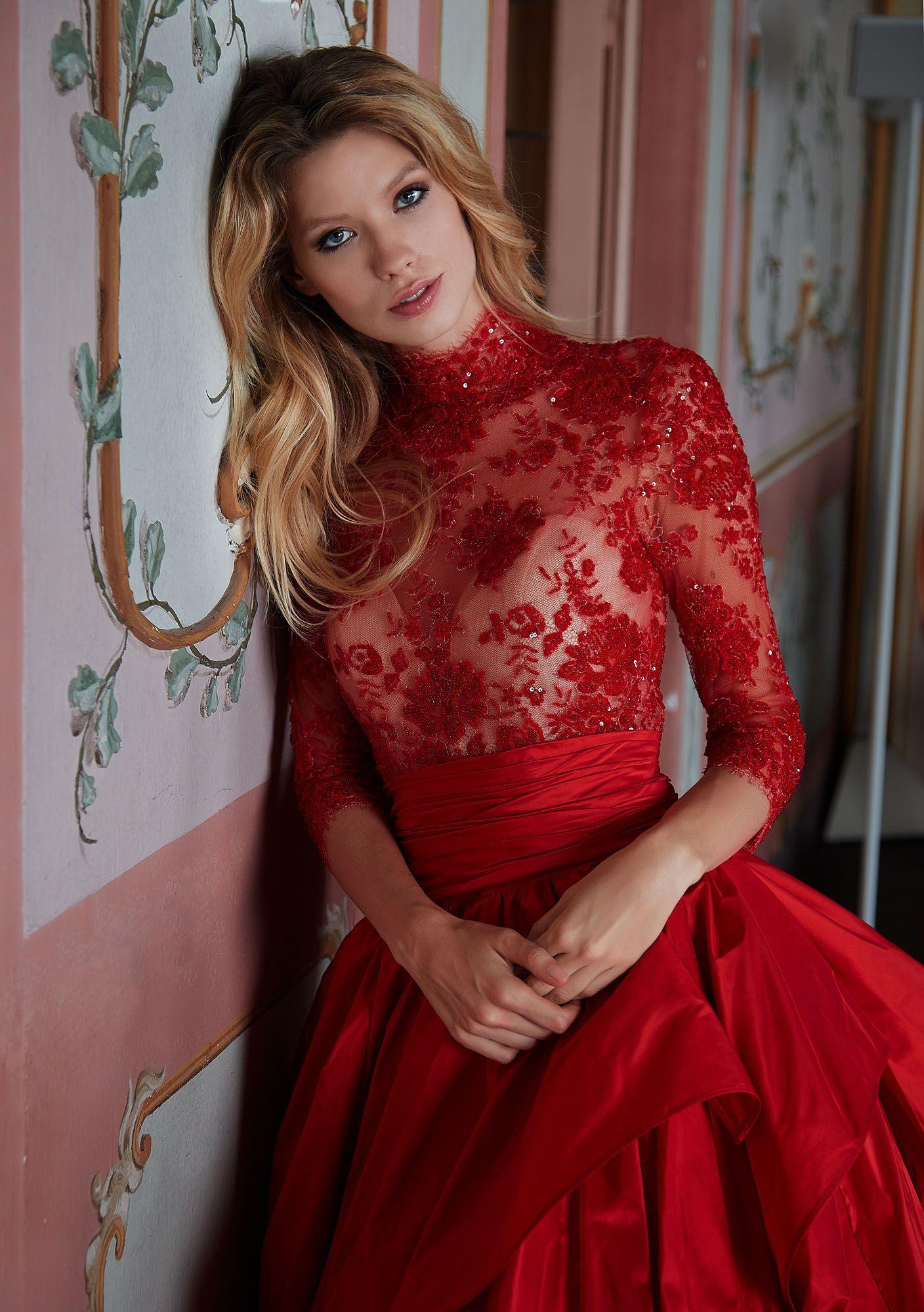 Preferenza MODELLO 1816 Strepitoso abito da sposa rosso in taffettà con XN12