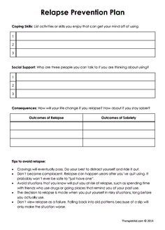 Printables Substance Abuse Treatment Worksheets relapse prevention and therapy worksheets on pinterest
