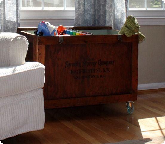 Rolling Storage Crate Made From An Old Crate. Stained Outside, Painted Teal  Inside,